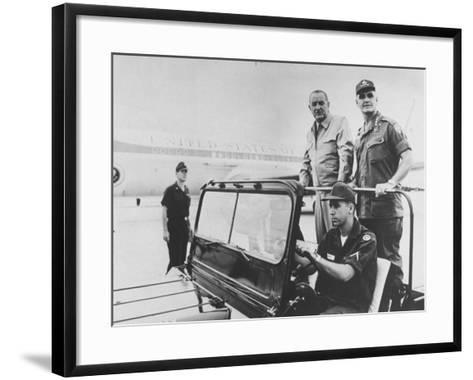 Pres. Lyndon B. Johnson with Gen. William C. Westmoreland Reviewing Troops at Cam Ranh Bay--Framed Art Print