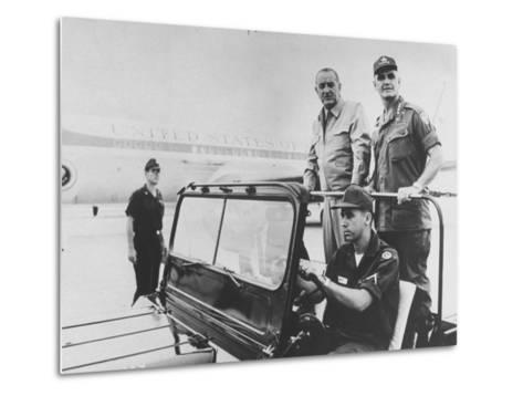 Pres. Lyndon B. Johnson with Gen. William C. Westmoreland Reviewing Troops at Cam Ranh Bay--Metal Print