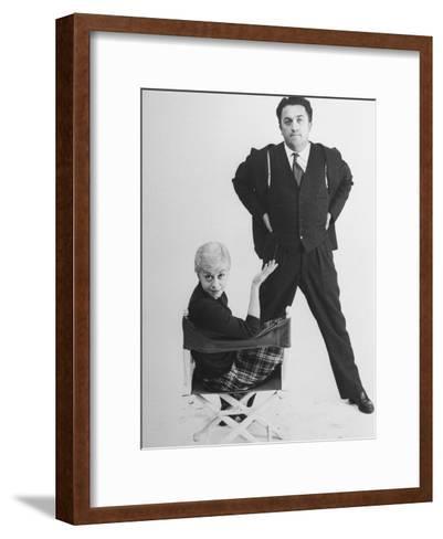 Italian Dir. Federico Fellini and Actress Wife Giulietta Masina Posing in Studio-Gjon Mili-Framed Art Print