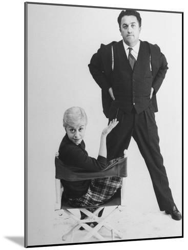 Italian Dir. Federico Fellini and Actress Wife Giulietta Masina Posing in Studio-Gjon Mili-Mounted Premium Photographic Print