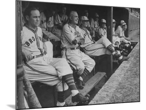 St. Louis Browns Players Sitting in the Dug Out During a Game-Peter Stackpole-Mounted Premium Photographic Print