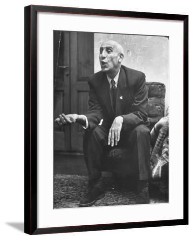 Iranian Premier Mohammed Mossadegh Gesturing During Interview-Dmitri Kessel-Framed Art Print