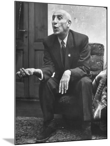 Iranian Premier Mohammed Mossadegh Gesturing During Interview-Dmitri Kessel-Mounted Premium Photographic Print