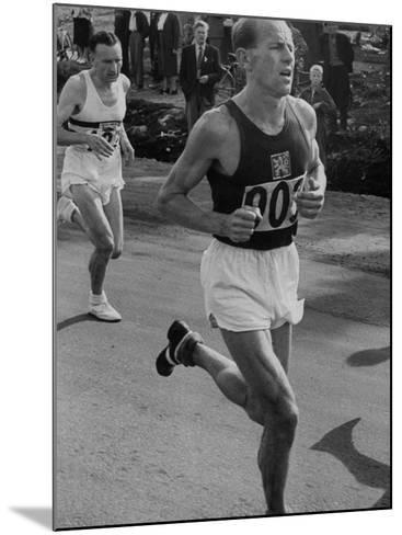 Emil Zatopek Running in Marathon at 1952 Olympics--Mounted Premium Photographic Print