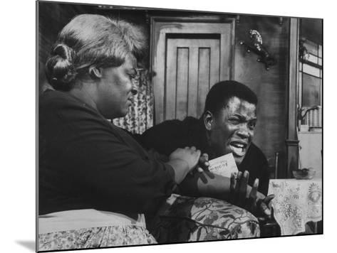 """Actress Claudia Mcneil and Actor Sidney Poitier in a Scene from the Play """"A Raisin in the Sun""""--Mounted Premium Photographic Print"""