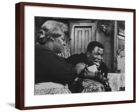 """Actress Claudia Mcneil and Actor Sidney Poitier in a Scene from the Play """"A Raisin in the Sun""""--Framed Art Print"""