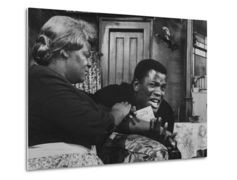 """Actress Claudia Mcneil and Actor Sidney Poitier in a Scene from the Play """"A Raisin in the Sun""""--Metal Print"""
