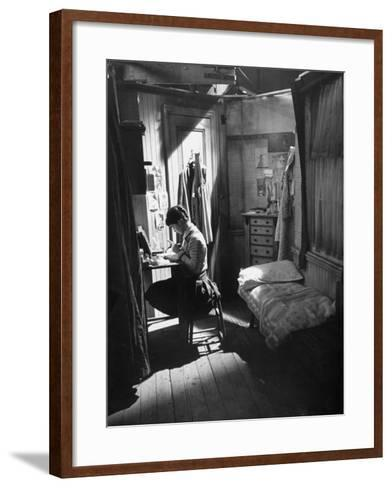 "Actress Millie Perkins, as Anne Frank in the Film ""The Diary of Anne Frank""-Ralph Crane-Framed Art Print"