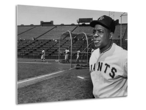 Baseball Star, Willie Mays on the Field--Metal Print