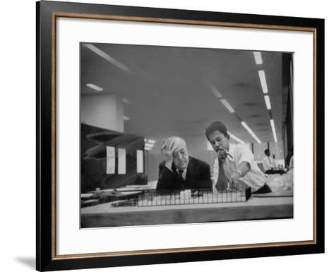 Architect Ludwig Mies Van Der Rohe Sitting at Desk W. Student at Institution of Technology School--Framed Art Print