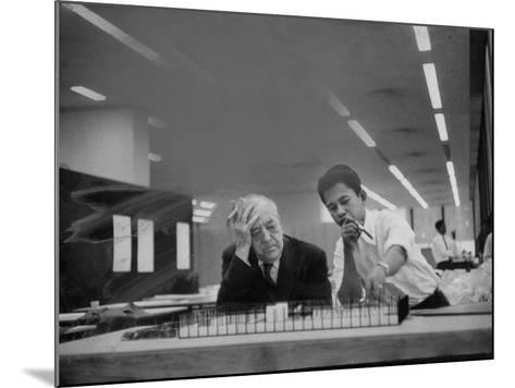 Architect Ludwig Mies Van Der Rohe Sitting at Desk W. Student at Institution of Technology School--Mounted Premium Photographic Print