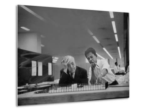 Architect Ludwig Mies Van Der Rohe Sitting at Desk W. Student at Institution of Technology School--Metal Print