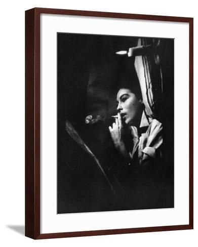 """Actress Ava Gardner Smoking a Cigarette in a Scene from the Film """"Mogambo""""-Peter Stackpole-Framed Art Print"""