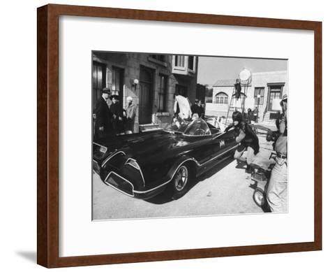 """Batman"" Adam West and ""Robin"" Burt Ward During Shooting of Scene-Yale Joel-Framed Art Print"