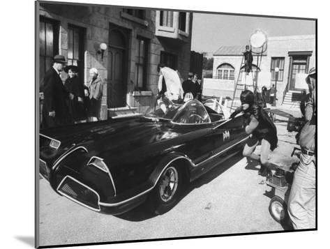 """Batman"" Adam West and ""Robin"" Burt Ward During Shooting of Scene-Yale Joel-Mounted Premium Photographic Print"