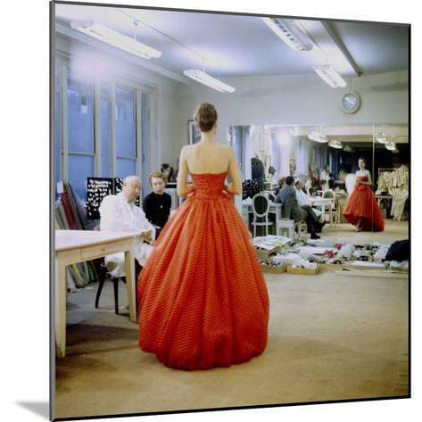 Fashion Designer Christian Dior Commenting on Red Gown for His New Collection Prior to Showing-Loomis Dean-Mounted Premium Photographic Print