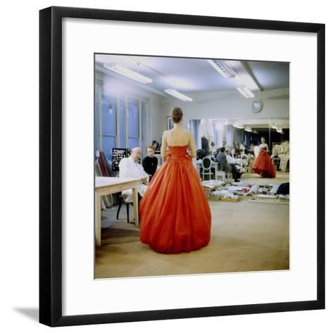 Fashion Designer Christian Dior Commenting on Red Gown for His New Collection Prior to Showing-Loomis Dean-Framed Art Print