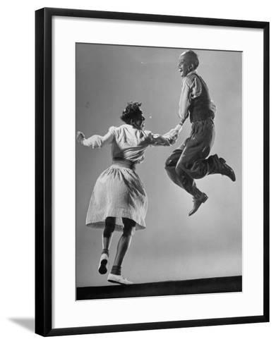 Leon James and Willa Mae Ricker Demonstrating a Step of the Lindy Hop-Gjon Mili-Framed Art Print