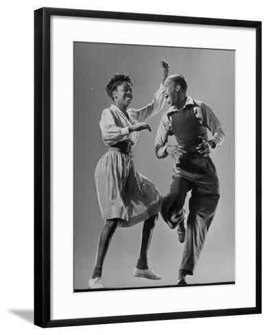 Leon James and Willa Mae Ricker Demonstrating a Step of the Lindy Hop-Gjon Mili-Framed Art Print