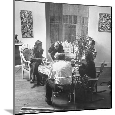 Painter Jackson Pollock Visiting with Guests-Martha Holmes-Mounted Premium Photographic Print