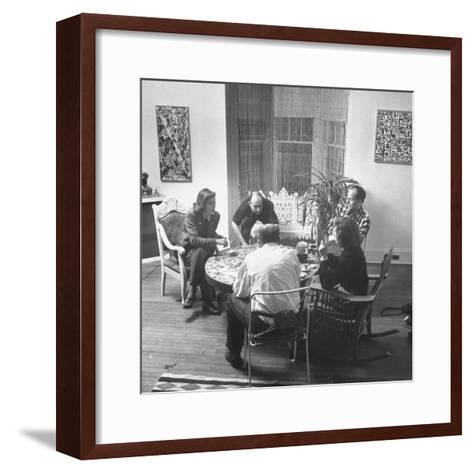 Painter Jackson Pollock Visiting with Guests-Martha Holmes-Framed Art Print