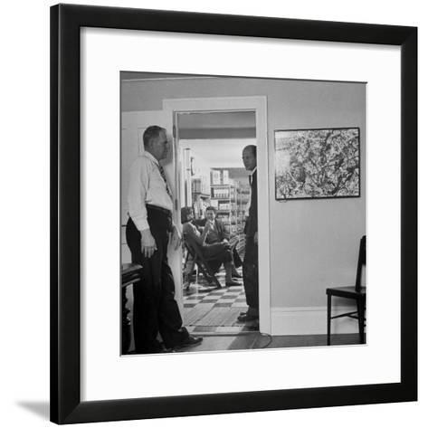 Painter Jackson Pollock Standing in Doorway Near One of His Paintings-Martha Holmes-Framed Art Print