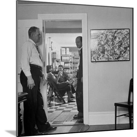 Painter Jackson Pollock Standing in Doorway Near One of His Paintings-Martha Holmes-Mounted Premium Photographic Print