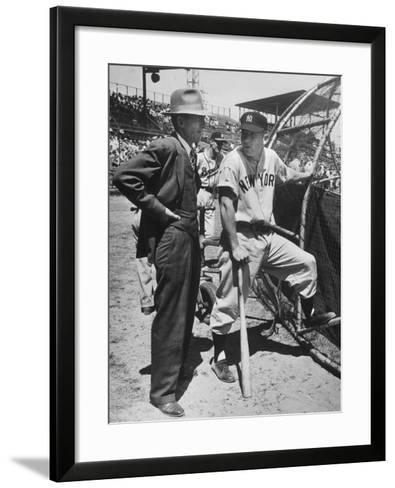 New York Yankee Outfielder Mickey Mangle Talking with Tom Greenwade--Framed Art Print