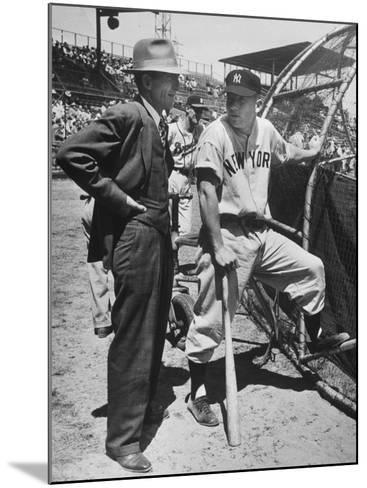 New York Yankee Outfielder Mickey Mangle Talking with Tom Greenwade--Mounted Premium Photographic Print