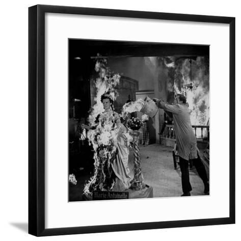 """Actor Vincent Price Putting Out Fire in Film """"House of Wax""""-J^ R^ Eyerman-Framed Art Print"""