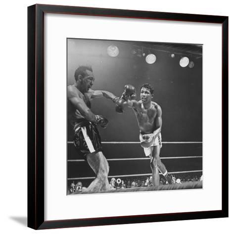 Boxers Ray Robinson and Carmen Basilio Fighting in the Ring-George Silk-Framed Art Print