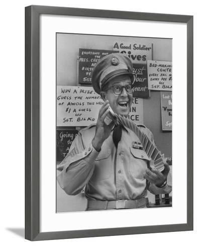 Comedian Phil Silvers Playing Cards on His Television Show-Yale Joel-Framed Art Print