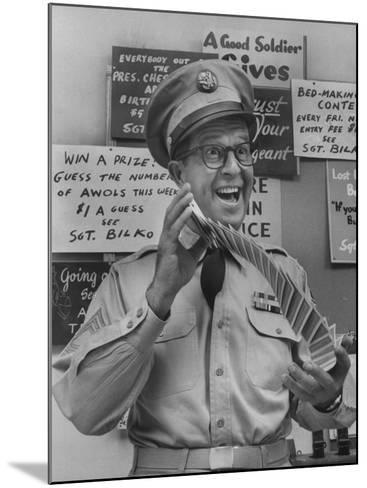 Comedian Phil Silvers Playing Cards on His Television Show-Yale Joel-Mounted Premium Photographic Print