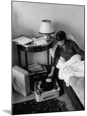 French Authoress Francoise Sagan, Laying in Bed Listening to Music--Mounted Premium Photographic Print