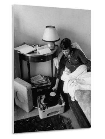 French Authoress Francoise Sagan, Laying in Bed Listening to Music--Metal Print
