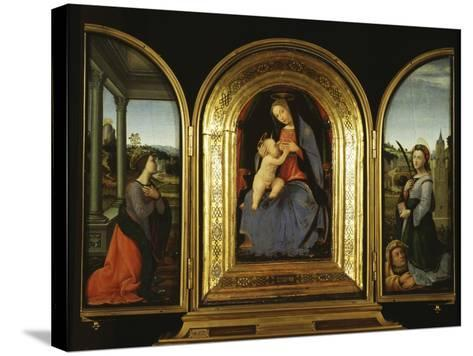 Tryptych: Enthroned Madonna and Child, St Catherine of Alexandria and St Barbara--Stretched Canvas Print