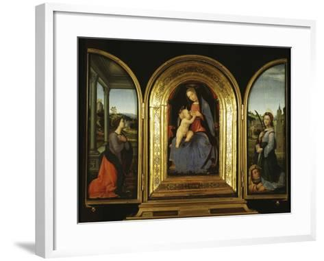 Tryptych: Enthroned Madonna and Child, St Catherine of Alexandria and St Barbara--Framed Art Print
