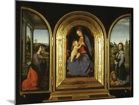 Tryptych: Enthroned Madonna and Child, St Catherine of Alexandria and St Barbara--Mounted Giclee Print