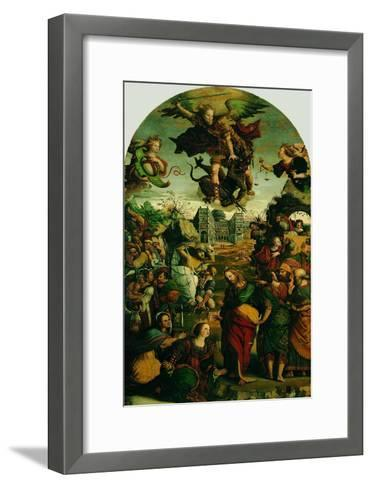 Raising of Lazarus and Fight Between St Michael and the Devil--Framed Art Print