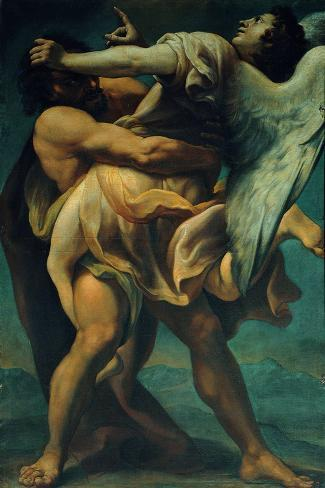 Jacob Struggles with the Angel--Stretched Canvas Print