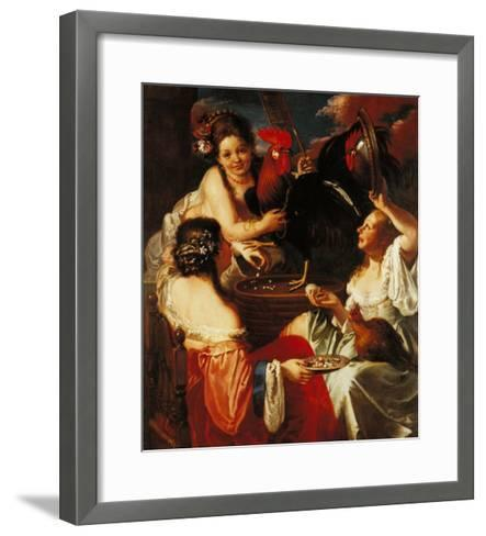 Little Girls Playing with a Rooster Cock--Framed Art Print