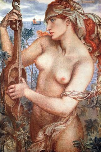 The Siren Mermaid Ligeia--Stretched Canvas Print