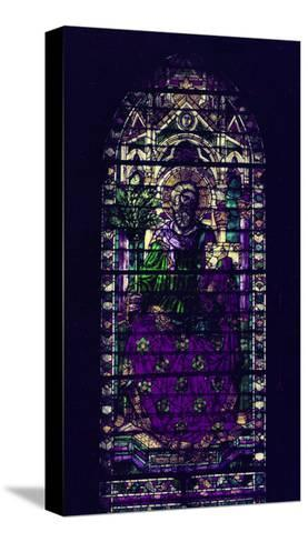 Stained-Glass Window with Figure of Saint Martyr Enthroned-Parmigianino-Stretched Canvas Print