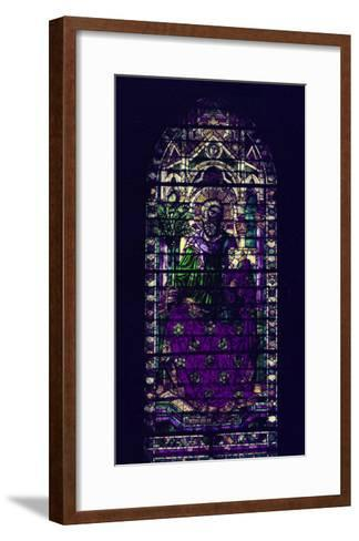 Stained-Glass Window with Figure of Saint Martyr Enthroned-Parmigianino-Framed Art Print