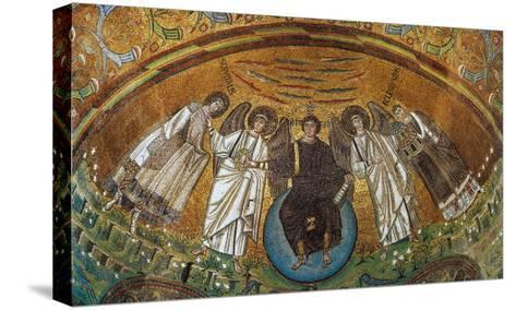 Apse Conch - Jesus on a Globe with Two Angels, St Vitale and the Bishop Ecclesio--Stretched Canvas Print