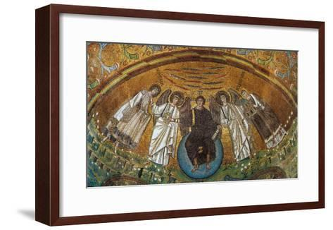 Apse Conch - Jesus on a Globe with Two Angels, St Vitale and the Bishop Ecclesio--Framed Art Print