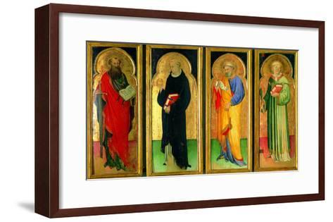 Polyptych with St Paul, St Nicholas of Tolentino, St Peter and St Lawrence--Framed Art Print