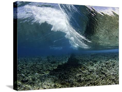 Underwater View of a Wave Crashing over a Coral Reef, Micronesia-David Fleetham-Stretched Canvas Print