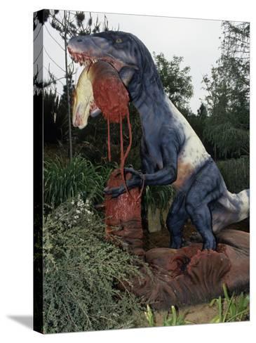 Restoration of Utahraptor, Early Cretaceous, 125 M.Y.A., Utah Dinosaur-Ken Lucas-Stretched Canvas Print