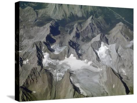 Aerial View of Glacial Landscape, Glaciers, Cirques and Horns, Canadian Rockies, Alberta-Marli Miller-Stretched Canvas Print